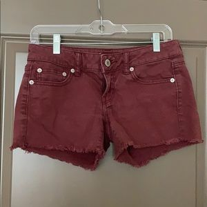 American Eagle Size 4 Maroon Denim Shorts